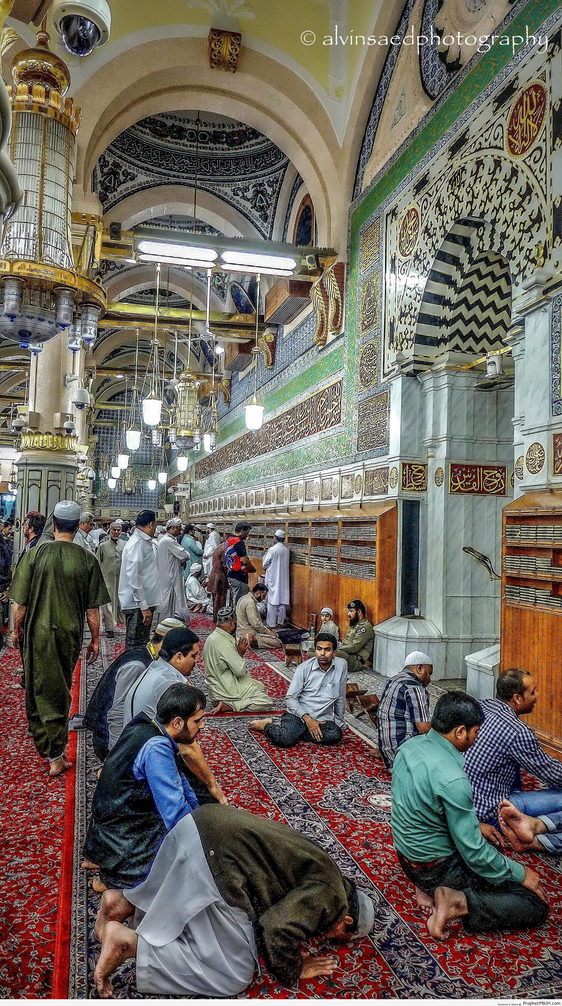 Inside al-Masjid an-Nabawi Prayer Hall (al-Madinah, Saudi Arabia) - Al-Masjid an-Nabawi (The Prophets Mosque) in Madinah, Saudi Arabia -Picture