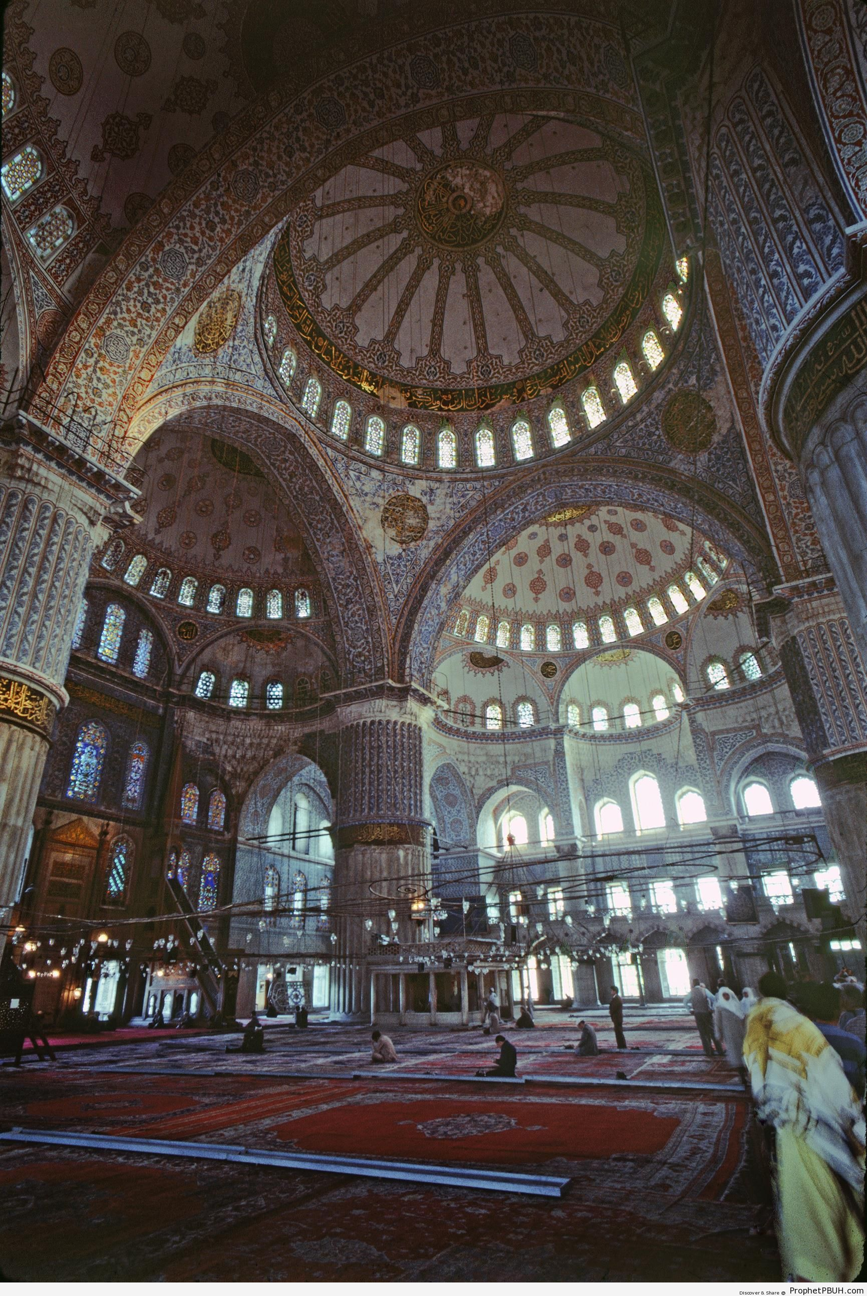 Interior of Sultan Ahmed Mosque (Blue Mosque) in Istanbul, Turkey - Islamic Architecture -Picture