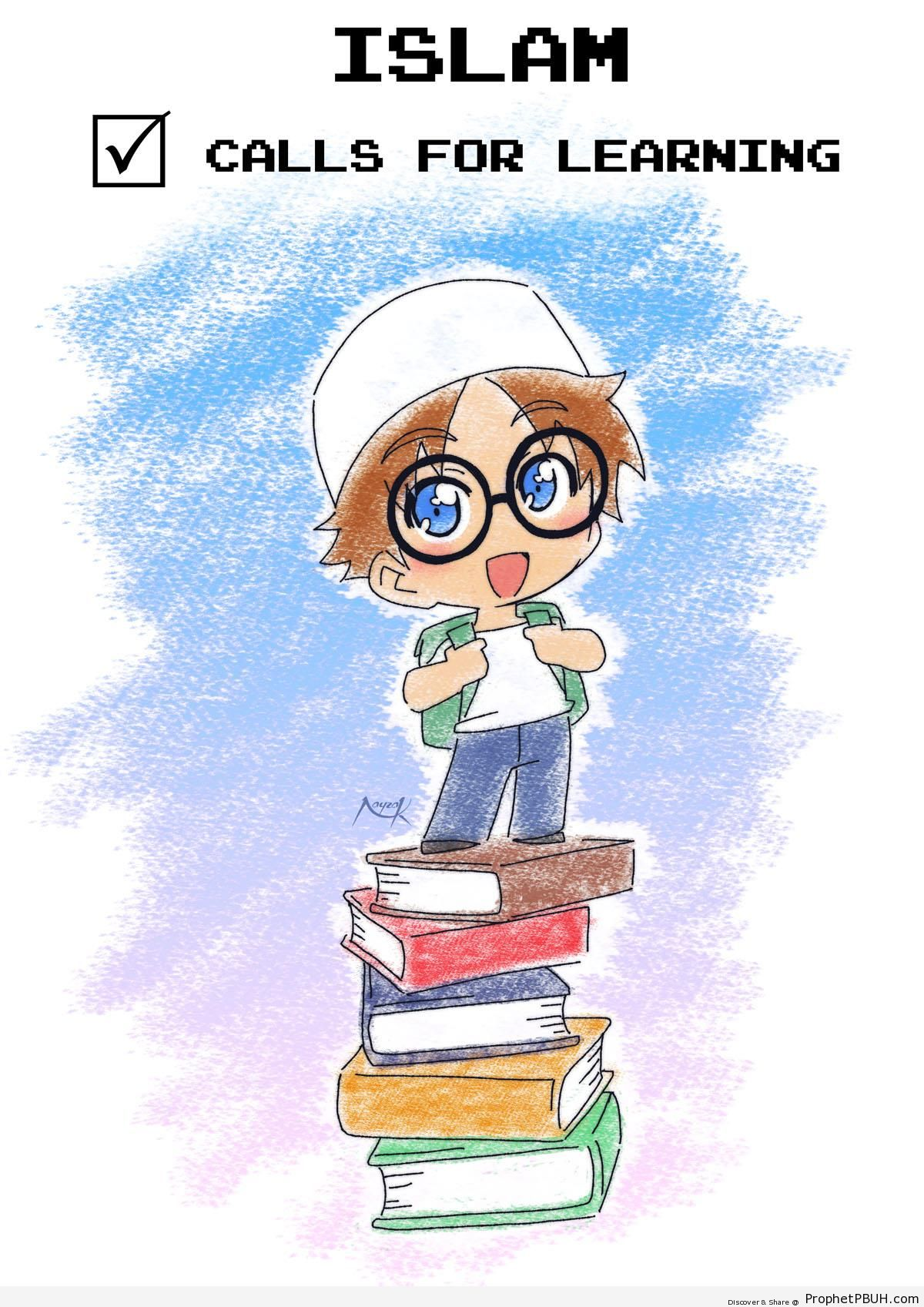 Islam Calls for Learning- (Little Boy on Stack of Books) - Chibi Boy Drawings