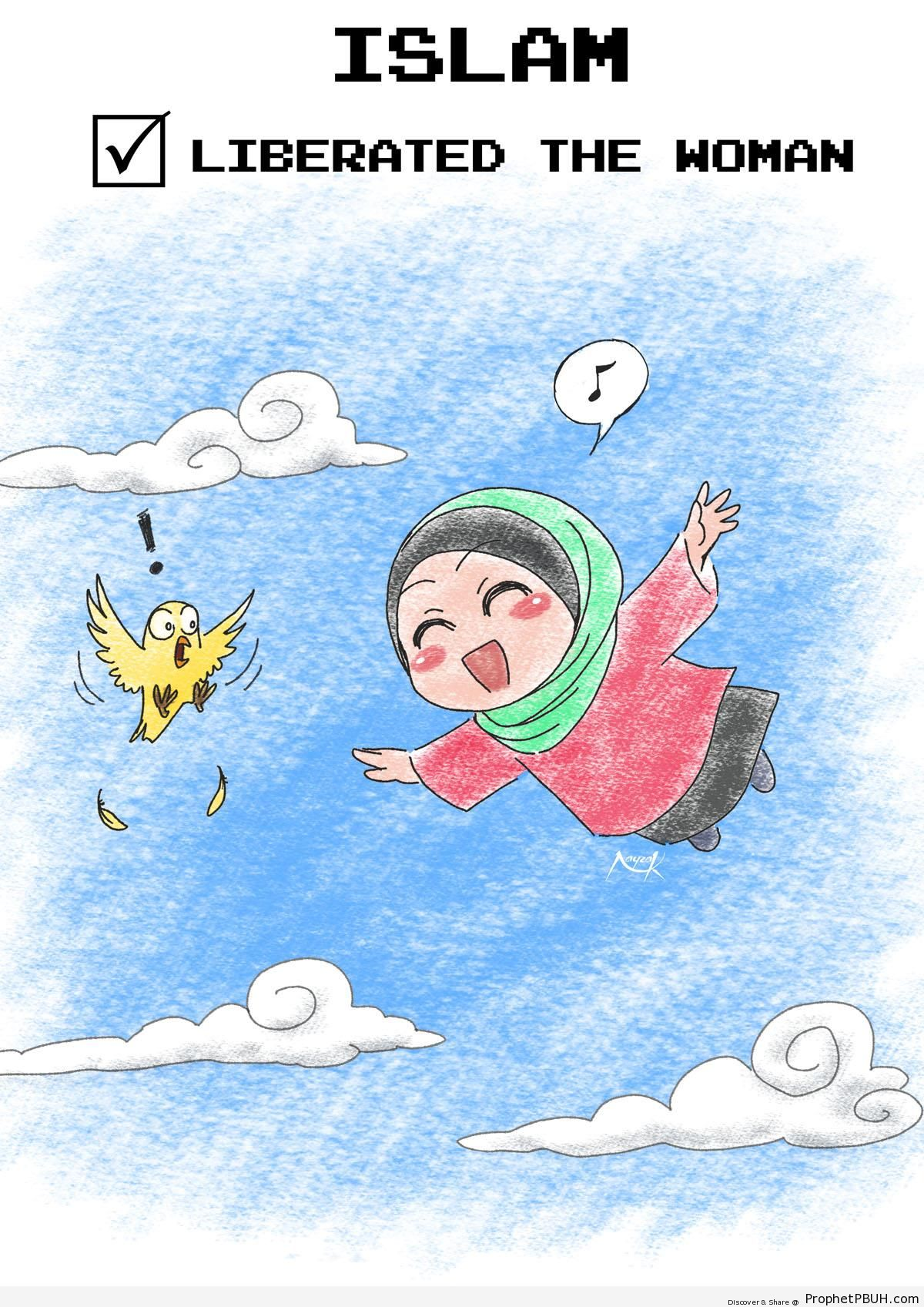 Islam Liberated the Woman (Poster With Happy Chibi Muslimah Drawing) - Chibi Drawings (Cute Muslim Characters)