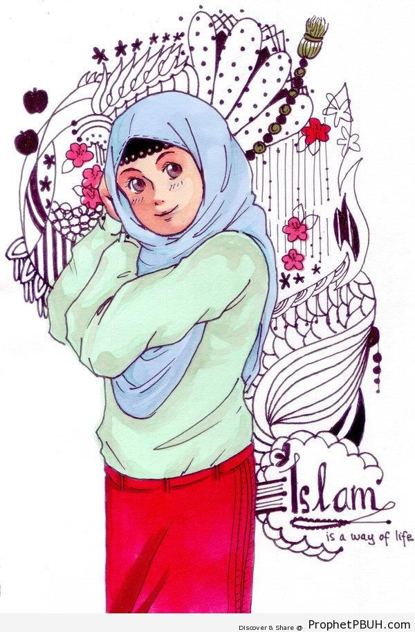 Islam Is A Way Of Life Poster With Anime Muslimah Drawing