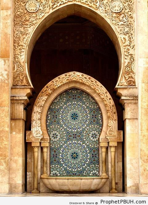 Islamic Tessellation Pattern Under Arch at Hasan II Mosque in Morocco - Casablanca, Morocco