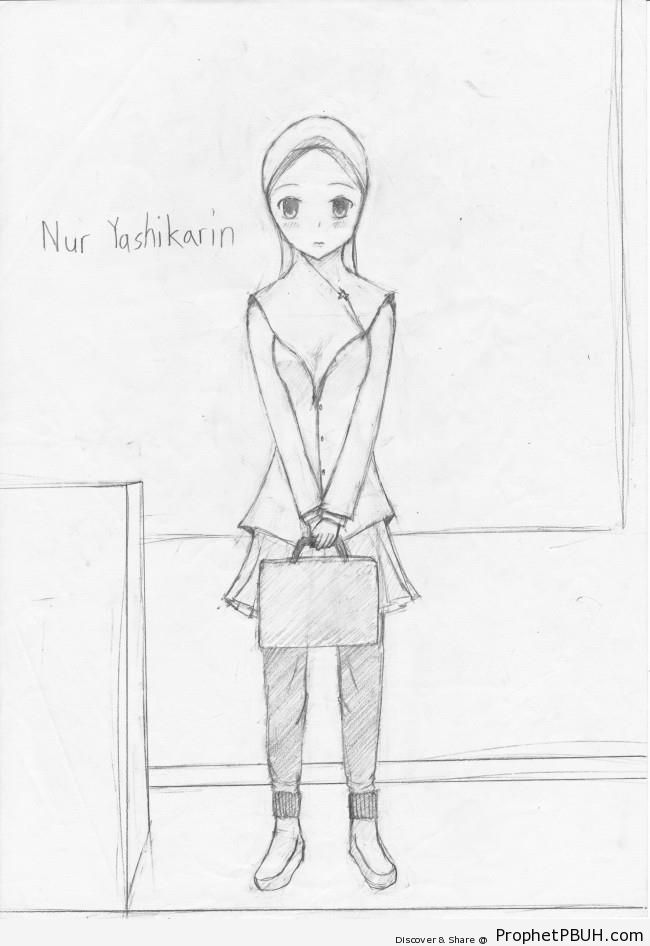 Japan Muslim Schoolgirl Drawing - Drawings
