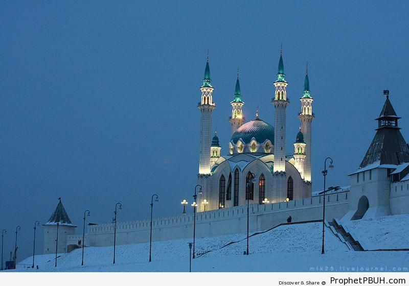 Lit Up Qolsharif Mosque in the Snow (Kazan, Russia) - Islamic Architecture -Picture