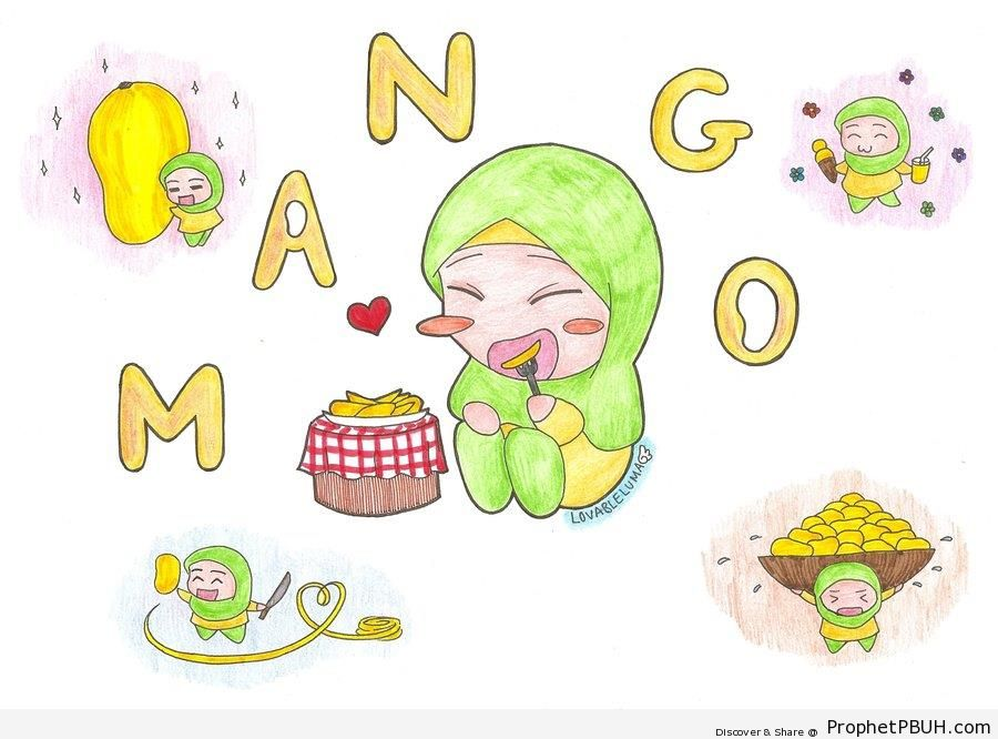 Little Girl Eating Mango - Chibi Drawings (Cute Muslim Characters)