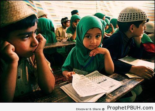 Little Girl Studying the Quran - Muslimah Photos (Girls and Women & Hijab Photos)