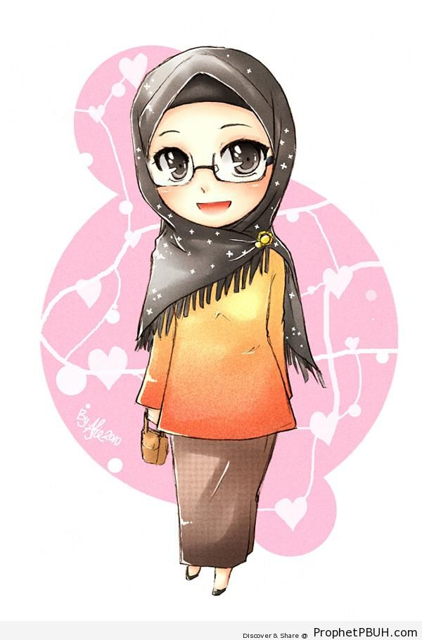 Little Muslimah Woman in Hijab and Glasses - Drawings