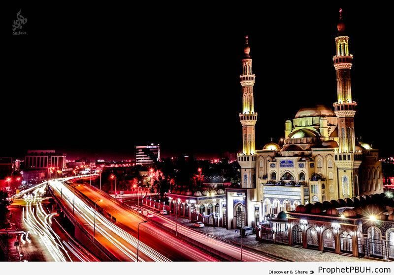 Long Exposure Shot of Jalil al-Khayat Mosque in Erbil, Iraq - Erbil, Iraq