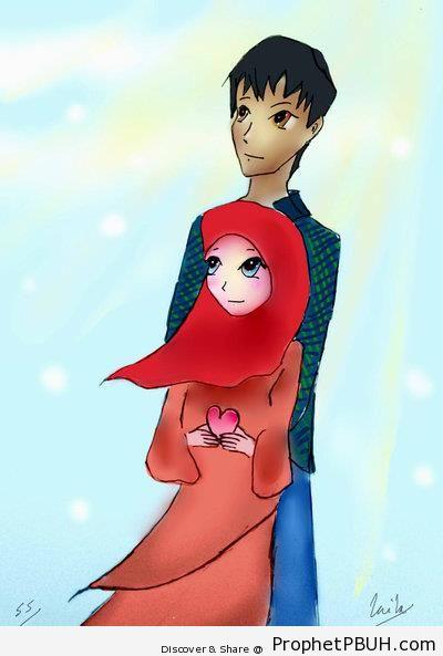 Loving Muslim Couple - Drawings