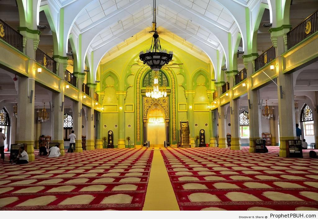 Main Prayer Hall at Sultan Mosque in Kampong Glam, Singapore - Islamic Architecture -Picture