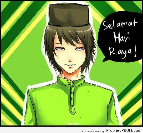 Malaysian Eid Greeting On Drawing Of Anime Muslim Man