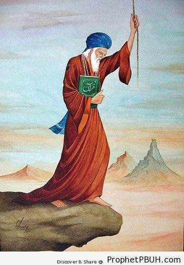 Man Clutches Book of Quran and Holds on To the Rope of Allah (Islamic Conceptual Art) - Artist- S. A. Noory