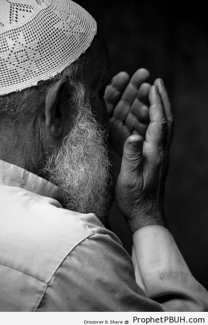 Man Making Dua - Islamic Black and White Photos