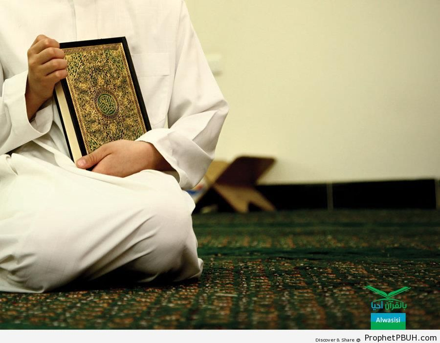 Man With Quran - Mushaf Photos (Books of Quran)