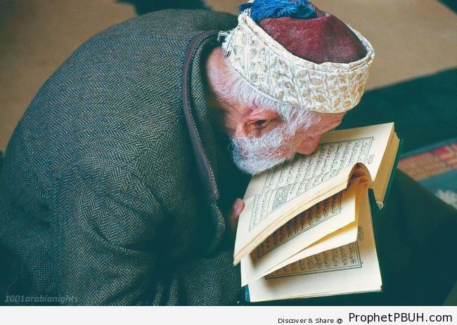 Man With Quran (al-Aqsa Mosque, al-Quds, Palestine) - Al-Aqsa Mosque (Bayt al-Muqaddas) in Jerusalem, Palestine