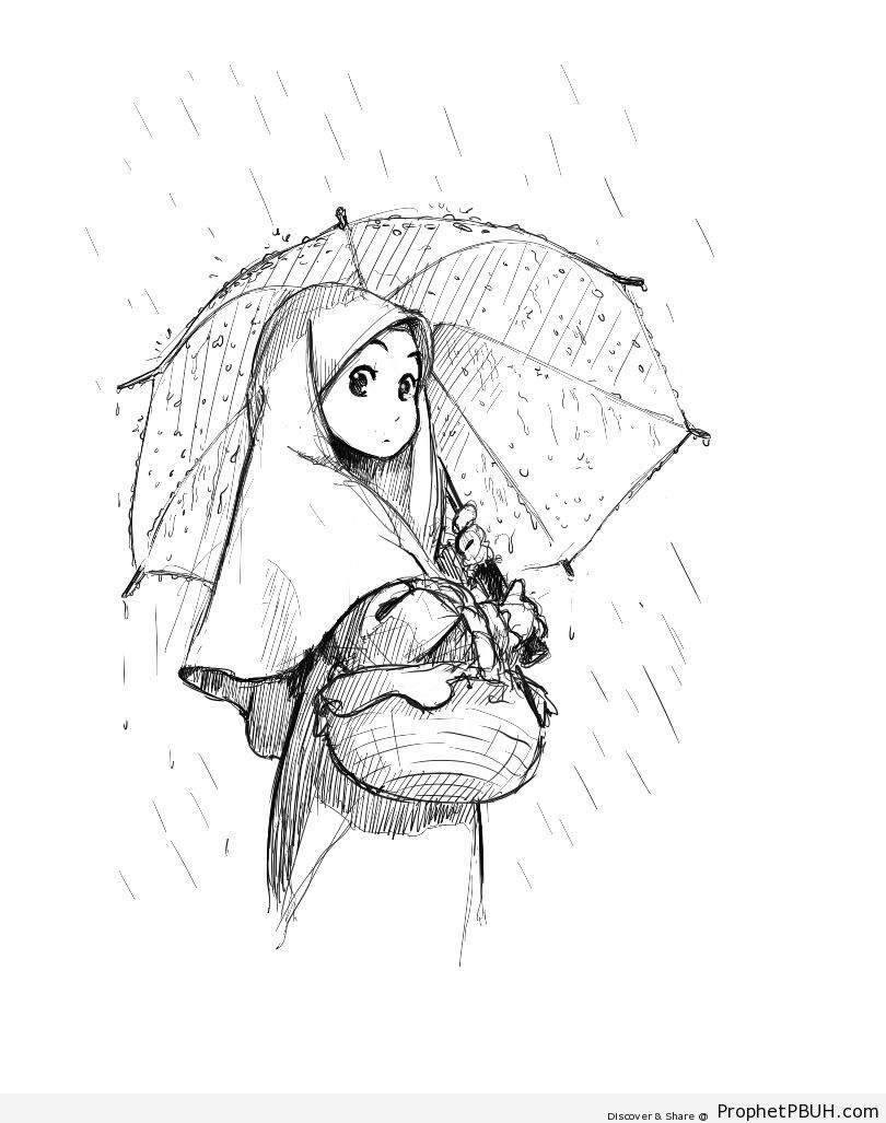 Manga Girl With Umbrella in the Rain - Drawings