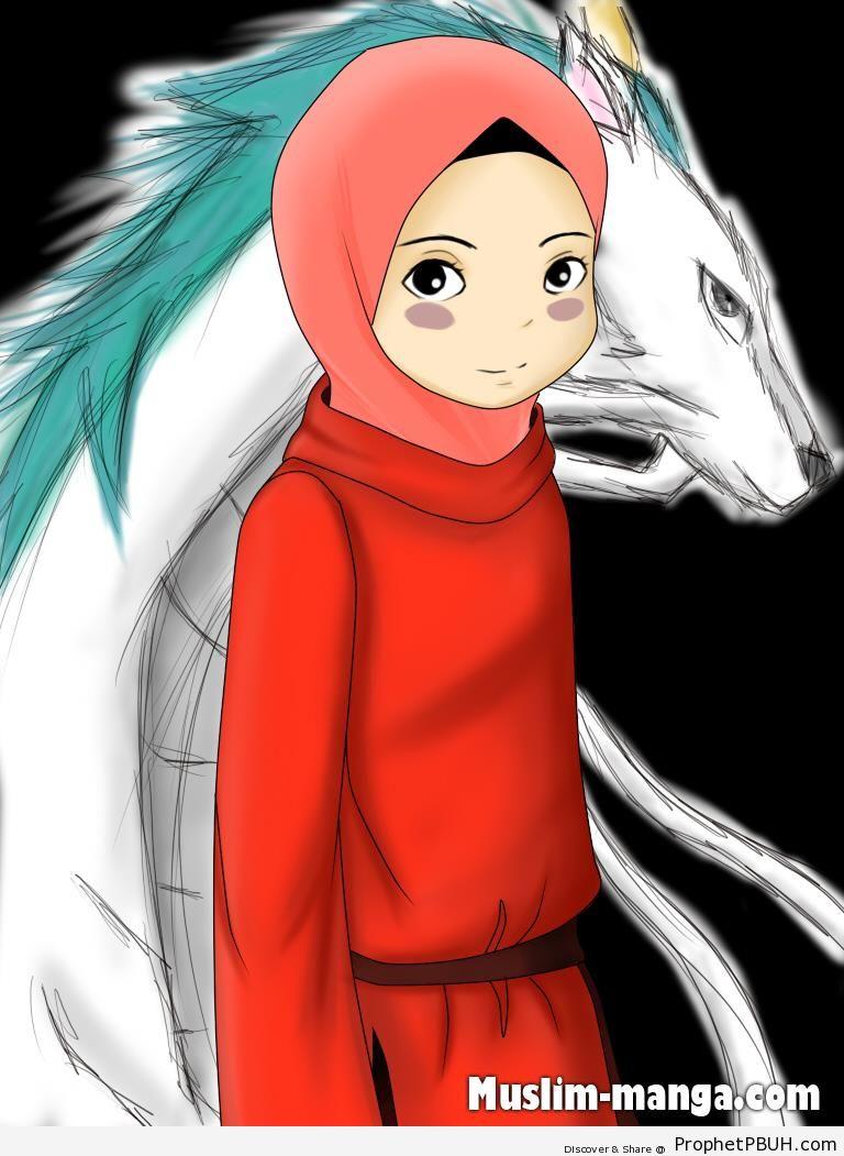 Manga Girl in Hijab - Drawings
