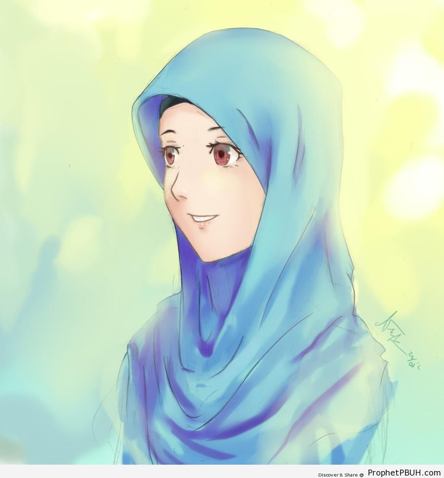 Manga Muslim Woman Portrait - Drawings