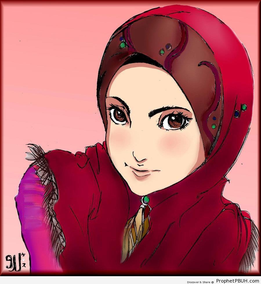 Maroon Hijab and Brown Eyes - Drawings
