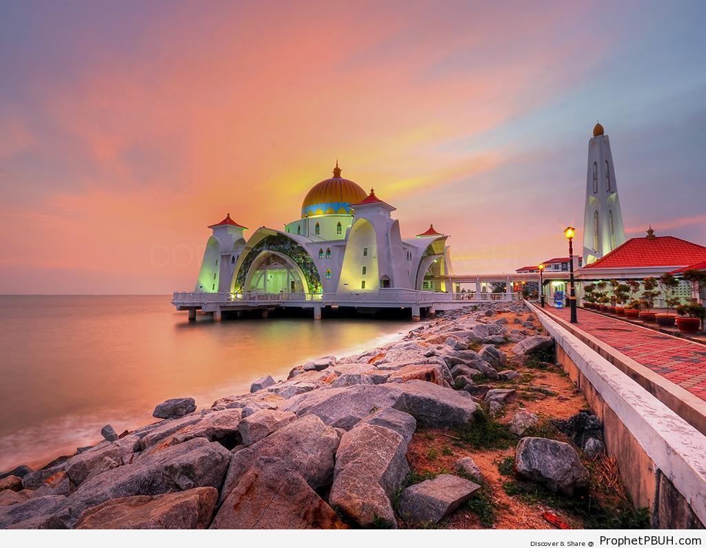 Masjid Selat (Malacca Straits Mosque) in Malacca Island, Malaysia - Islamic Architecture -003