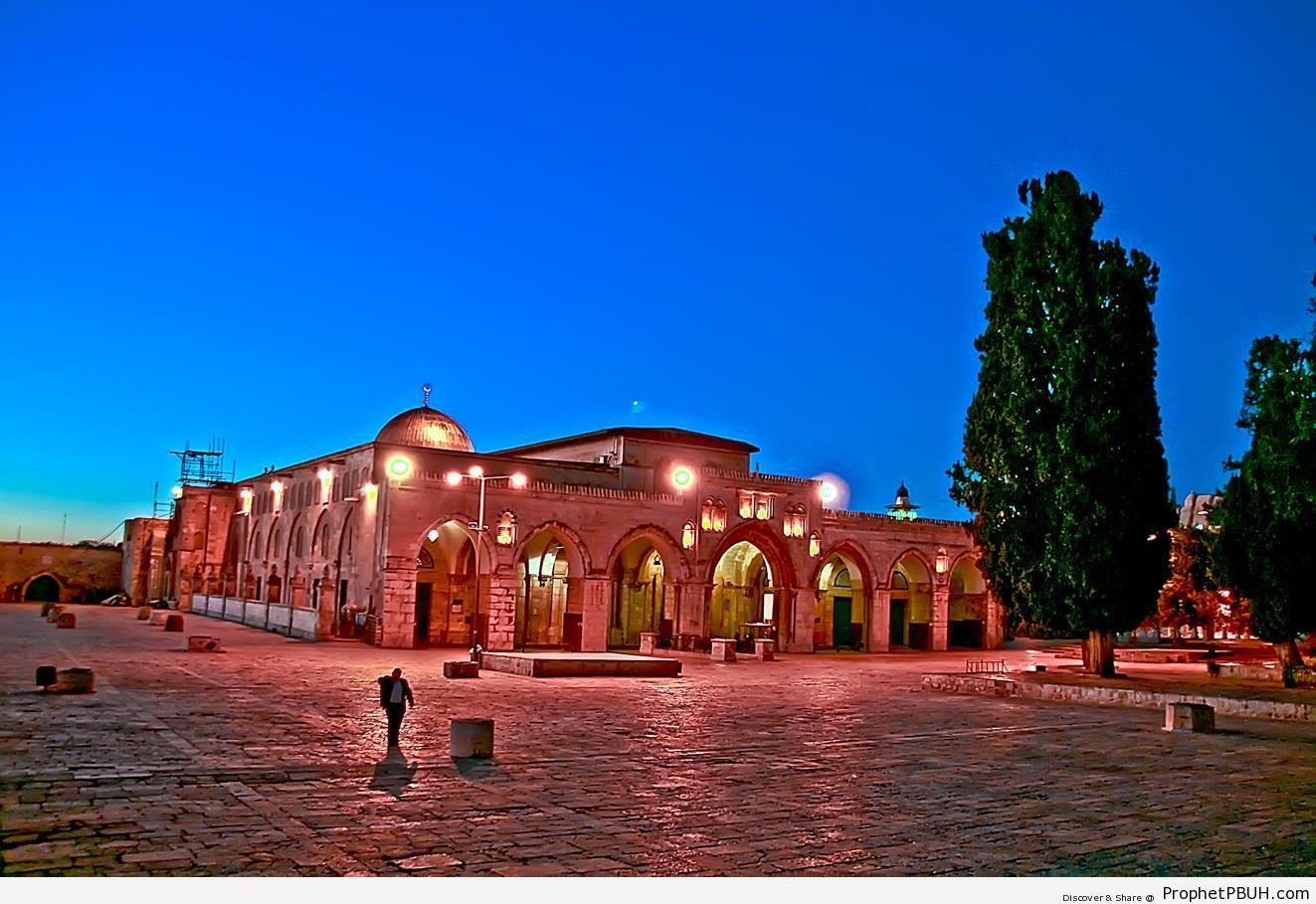 Masjid al-Aqsa at Dawn - Al-Aqsa Mosque (Bayt al-Muqaddas) in Jerusalem, Palestine -Picture