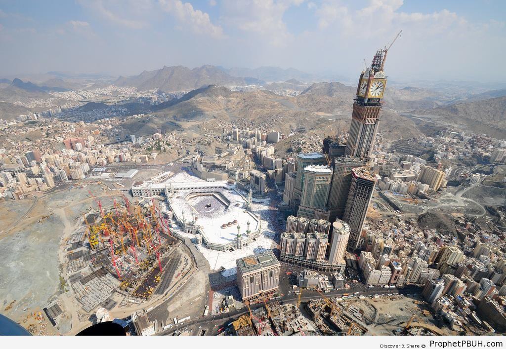Masjid al-Haram and Makkah Clock Tower from High Above - al-Masjid al-Haram in Makkah, Saudi Arabia