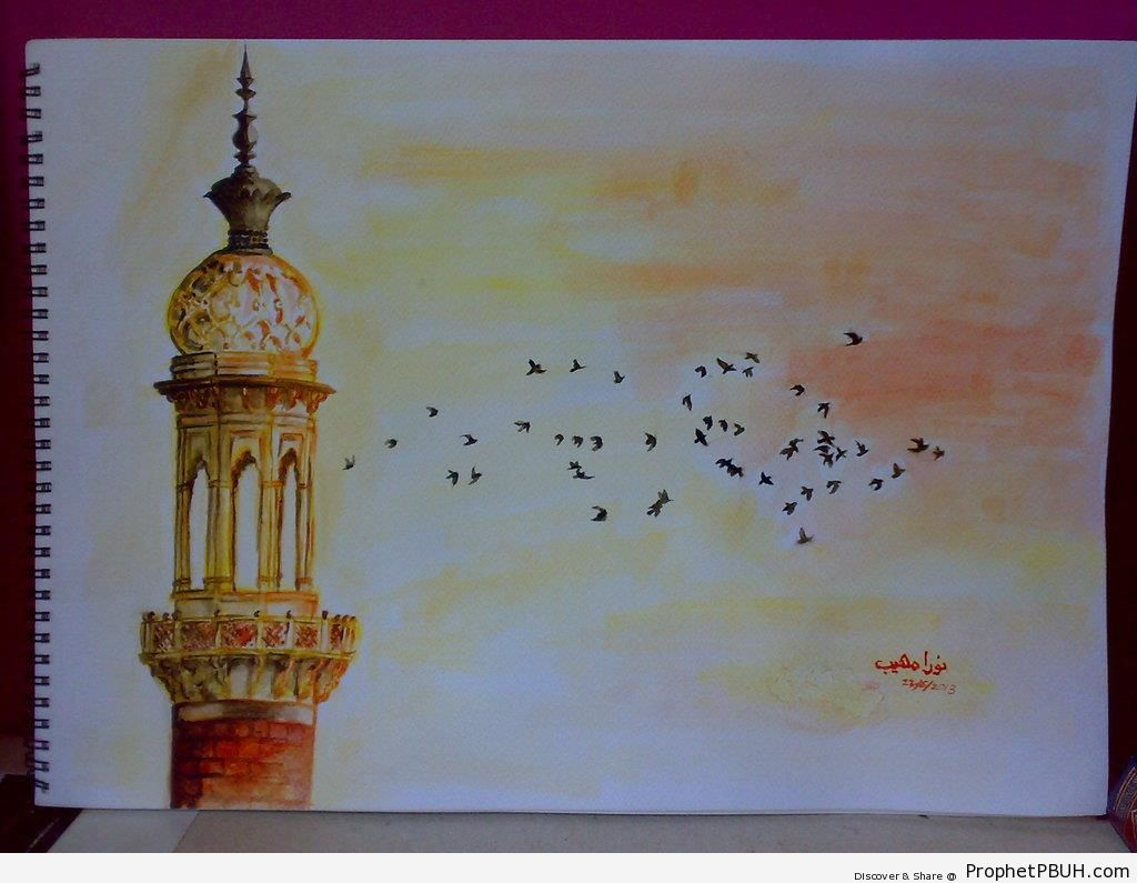 Minaret and Birds (Sketch) - Drawings