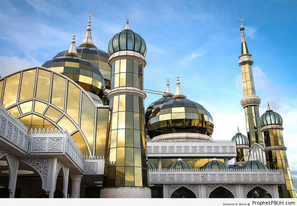 Minarets and Domes of the Crystal Mosque (Masjid Kristal) in Kuala Terengganu, Malaysia - Islamic Architecture -Picture