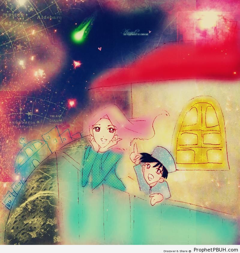 Mother and Son Watching the Stars - Drawings
