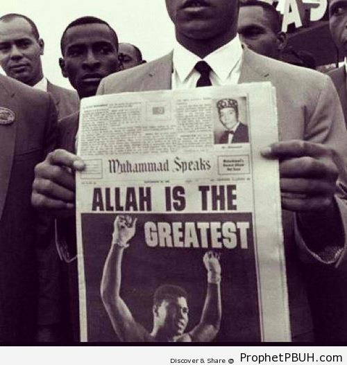 Muhammad Ali Holding Up Newspaper With the Headline -Allah is the Greatest- - Photos