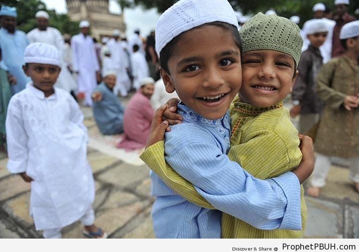 Muslim Children Hug on Eid al-Fitr 1433-2012 -