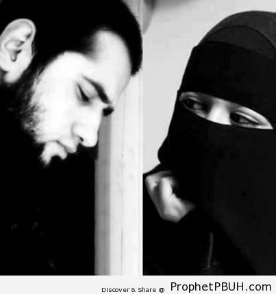 Muslim Couple (Bearded Husband, Niqabi Wife) - Islamic Black and White Photos