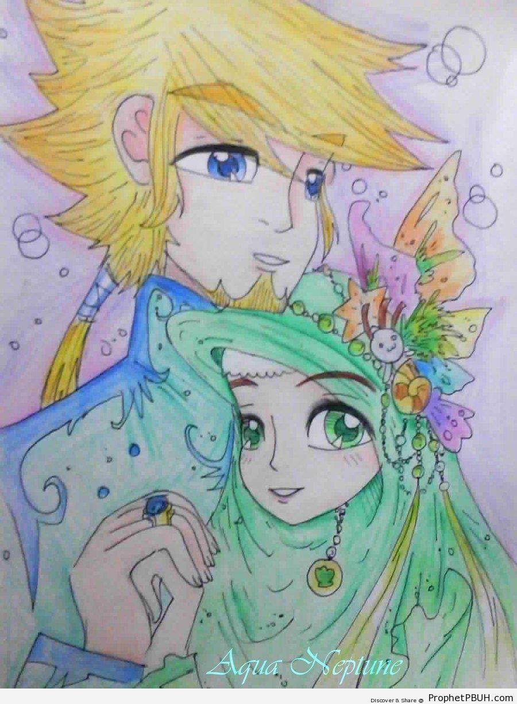 Muslim Couple (Blond Man & Woman in Green Hijab) - Drawings