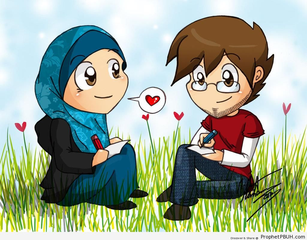 Muslim Couple Drawing Together - Drawings