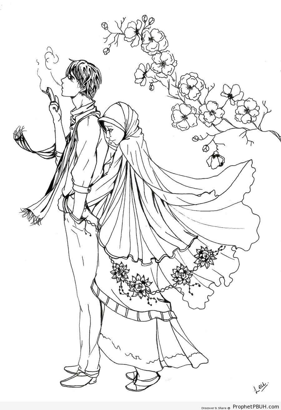 Line Drawing Couple : The gallery for gt anime couples wedding drawing