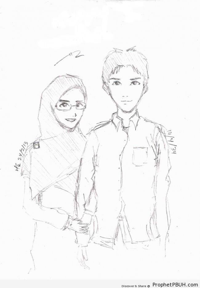 Muslim couple pencil drawing drawings