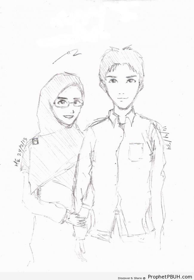 Muslim couple pencil drawing drawings