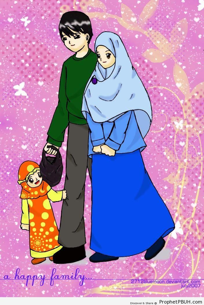 Muslim Family On Butterflies & Hearts Background - Drawings