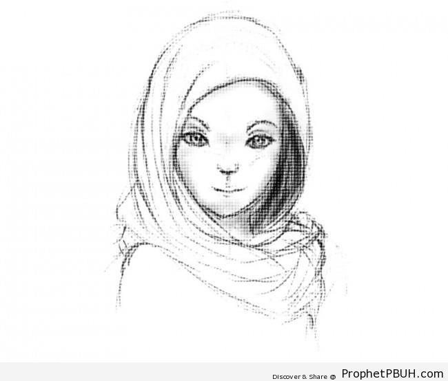 Muslim Girl Drawing - Drawings -003