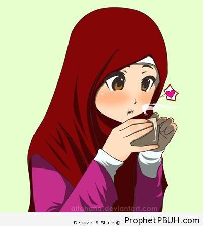 Muslim Girl Drinking Tea - Drawings