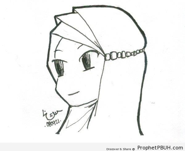 Muslim Girl Sketch - Drawings