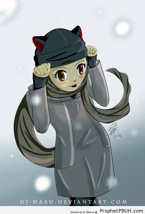 Muslim Girl Wearing Cat Hat - Drawings