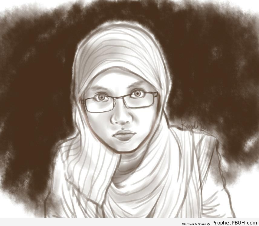 Muslim Girl Wearing Glasses (Drawing) - Drawings