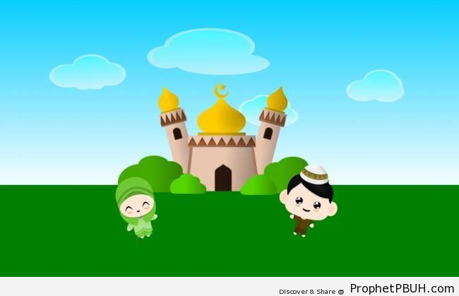 Muslim Girl and Boy by Masjid (Drawing) - Chibi Boy Drawings