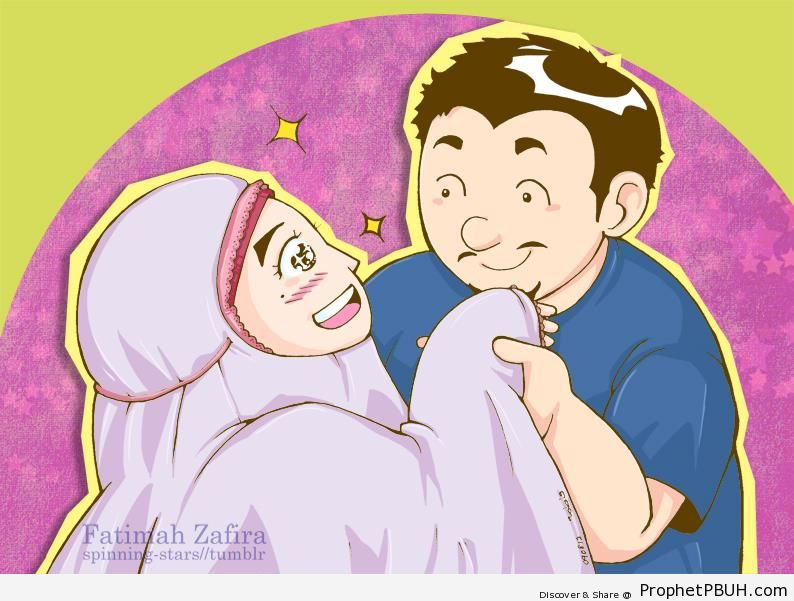 Muslim Husband and Wife Couple Drawing - Drawings