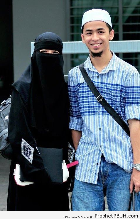 Muslim Husband and Wife Student Couple - Muslimah Photos (Girls and Women & Hijab Photos)
