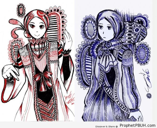 Muslim Ladies in Elegant Ornamented Costumes - Drawings