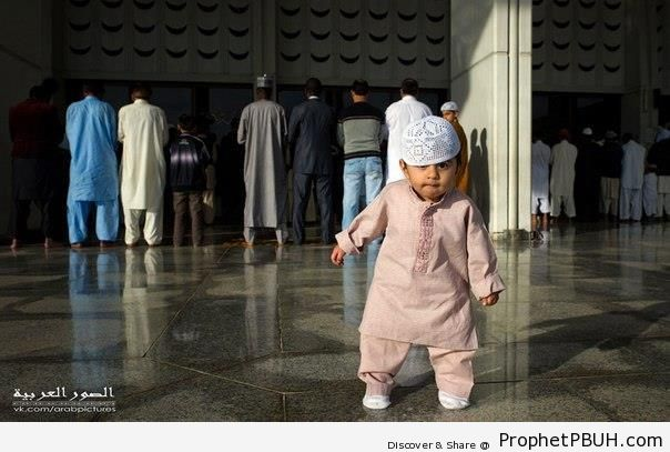Muslim Little Boy at the Mosque - Islamic Architecture