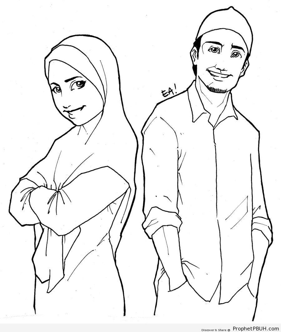 Muslim Man and Woman Line Drawing - Drawings