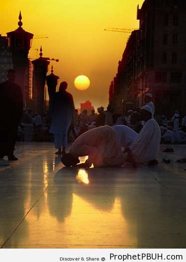 Muslim Men Praying before Sundown - Photos of Muslim People